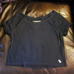Abercrombie Cropped Navy Tshirt XS
